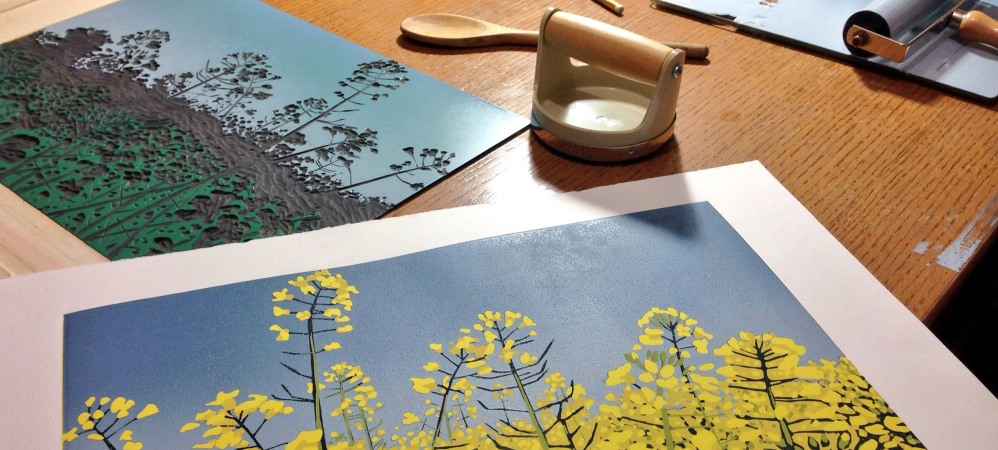 Reduction linocutting with Alexandra Buckle, 14/15 March